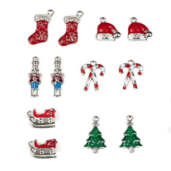 Mix of 12 Enameled Christmas Themed Pewter Charms