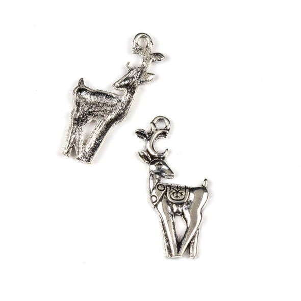 Silver Pewter 16x29mm Holiday Reindeer Charms - 10 per bag