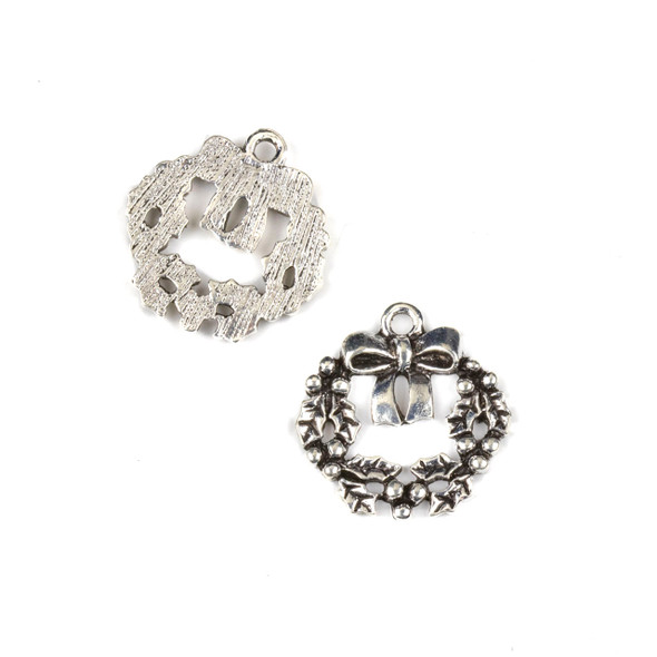 Silver Pewter 19x20mm Holiday Wreath Charms - 10 per bag