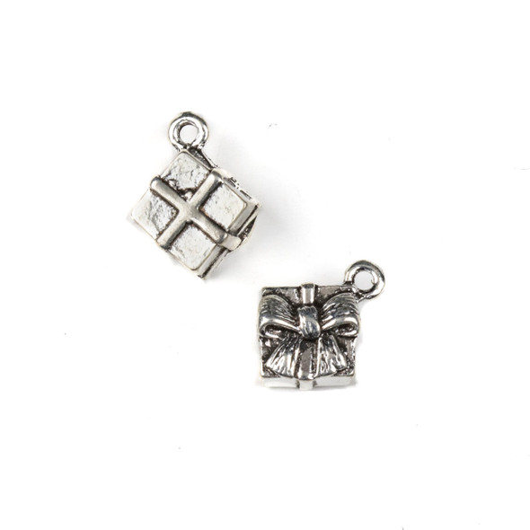 Silver Pewter 12mm Wrapped Present Charms - 10 per bag