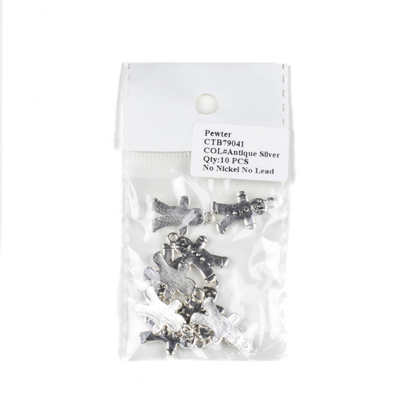 Silver Pewter 13x21mm Gingerbread Man Charms - 10 per bag