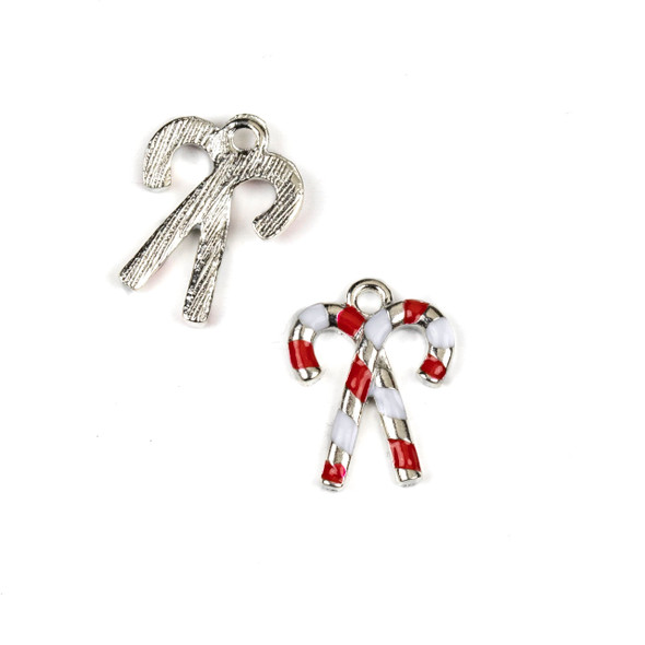 Silver Pewter Enameled 13x17mm Candy Cane Charms - 10 per bag
