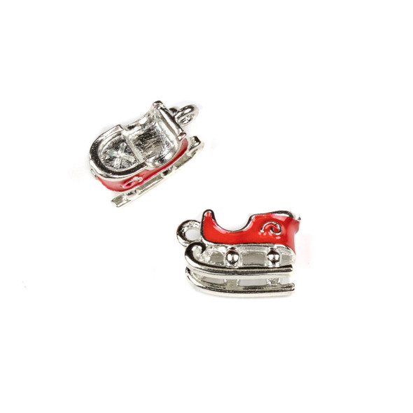 Silver Pewter Enameled 9x16mm Red Sleigh Charms - 10 per bag