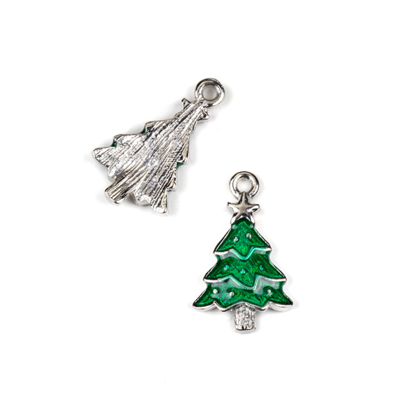Silver Pewter Enameled 12x20mm Green Christmas Tree Charms - 10 per bag