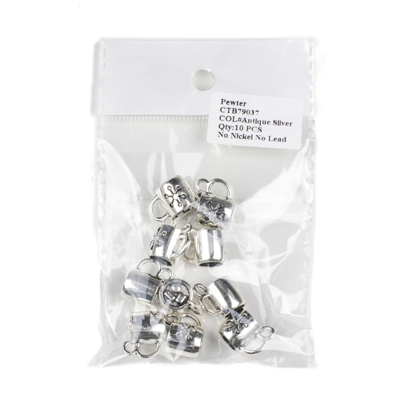 Silver Pewter 12x14mm Hot Cocoa Mug Charms - 10 per bag