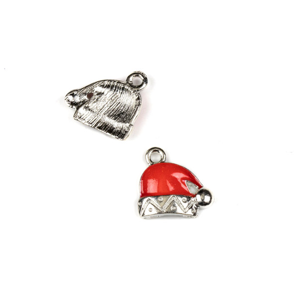 Silver Pewter Enameled 13x14mm Red Santa Hat Charms - 10 per bag