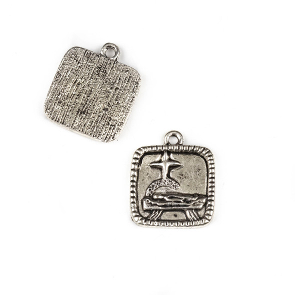 Silver Pewter 17x20mm Baby Jesus Nativity Charms - 10 per bag