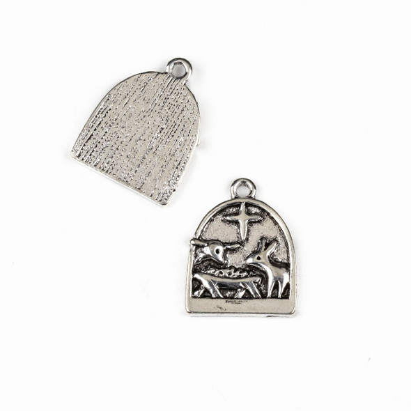 Silver Pewter 16x21mm Nativity Animal Charms - 10 per bag