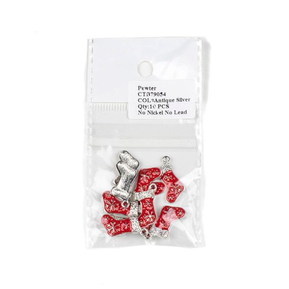 Silver Pewter Enameled 11x21mm Red Christmas Stocking Charms - 10 per bag