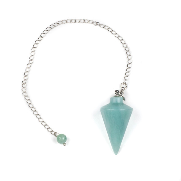"Amazonite 20x38mm Pendulum with 6.5"" Silver Plated Brass and 6mm Round Bead - 1 per bag"