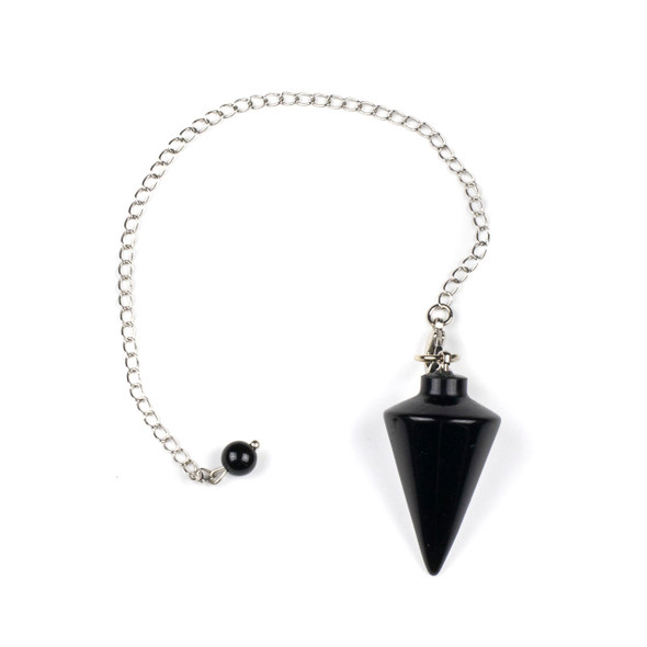 "Black Obsidian 20x38mm Pendulum with 6.5"" Silver Plated Brass and 6mm Round Bead - 1 per bag"