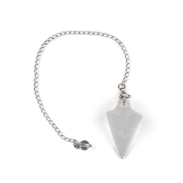 "Clear Quartz 20x38mm Pendulum with 6.5"" Silver Plated Brass and 6mm Round Bead - 1 per bag"