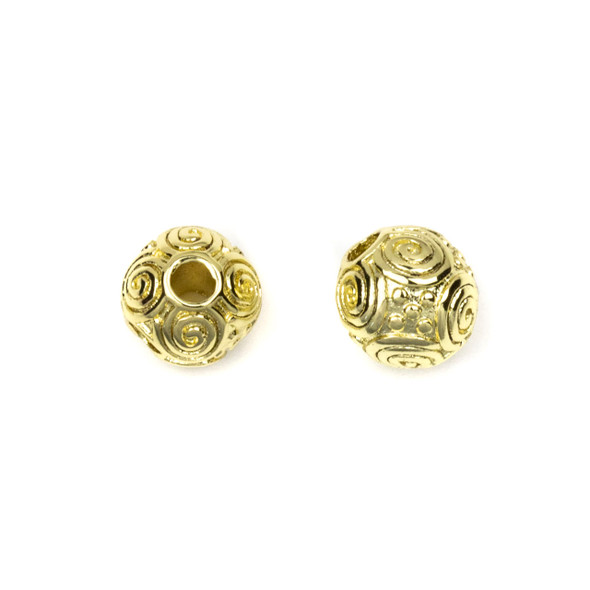 Gold Plated Stainless Steel 8mm Guru Bead with Spirals - ZN-65921, 1 per bag