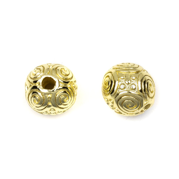 Gold Plated Stainless Steel 10mm Guru Bead with Spirals - ZN-65921, 1 per bag