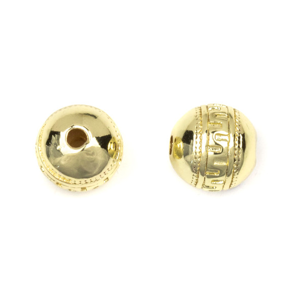 Gold Plated Stainless Steel 10mm Guru Bead with Tribal Band - ZN-65929, 1 per bag