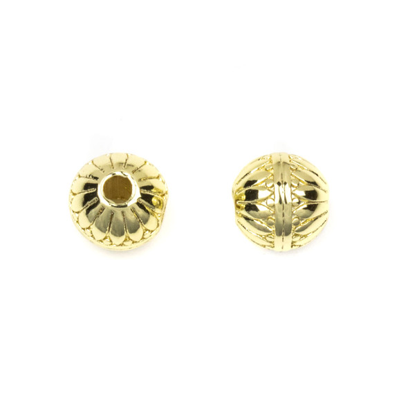 Gold Plated Stainless Steel 8mm Guru Bead with Petals and Stripes - ZN-65961, 1 per bag