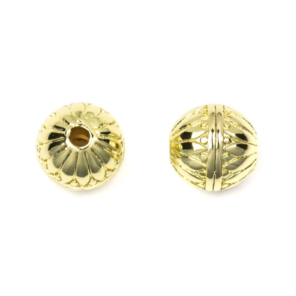 Gold Plated Stainless Steel 10mm Guru Bead with Petals and Stripes - ZN-65961, 1 per bag