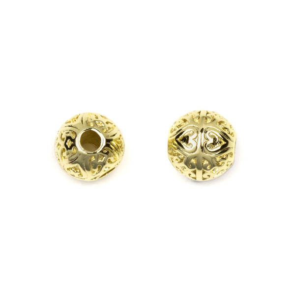 Gold Plated Stainless Steel 8mm Guru Bead with Heart Pattern - ZN-65977, 1 per bag