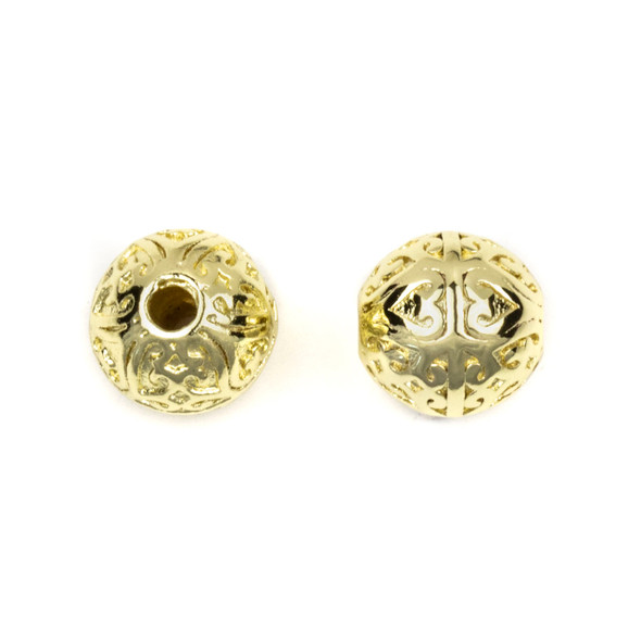 Gold Plated Stainless Steel 10mm Guru Bead with Heart Pattern - ZN-65977, 1 per bag