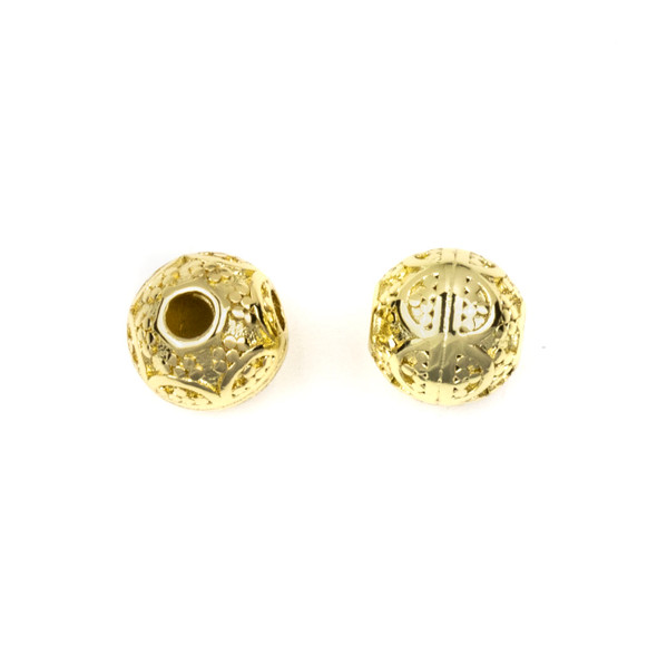 Gold Plated Stainless Steel 8mm Guru Bead with Arches - ZN-65949, 1 per bag