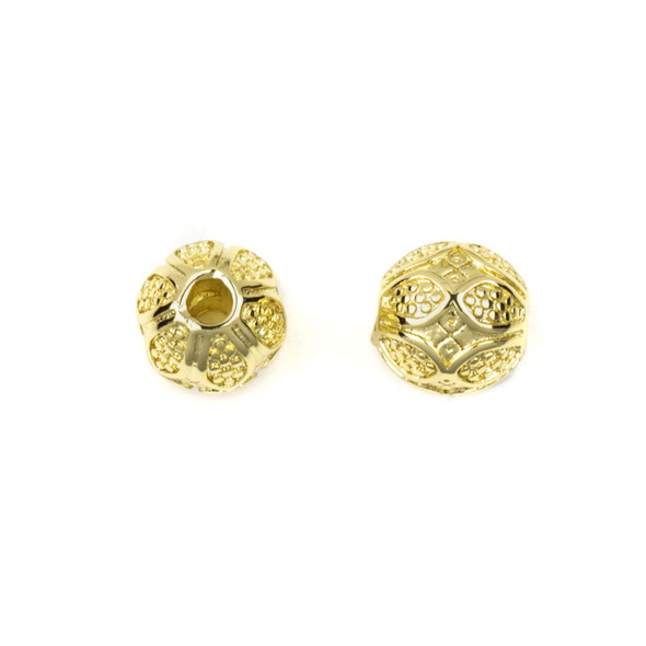 Gold Plated Stainless Steel 8mm Guru Bead with Dotted Petals - ZN-65965, 1 per bag