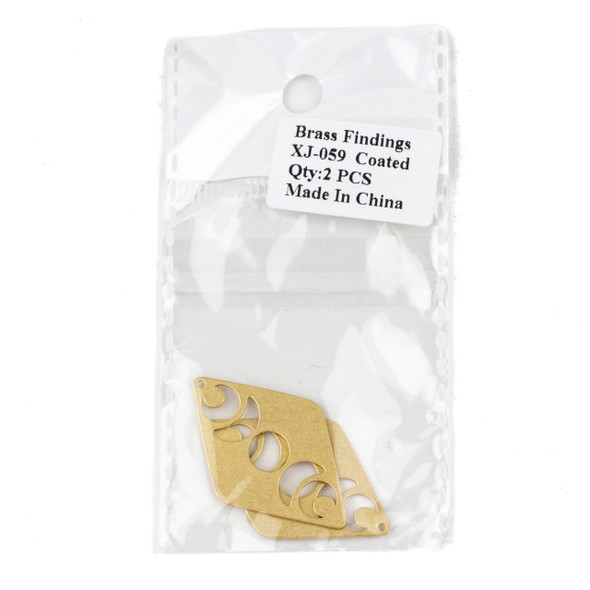 Coated Brass 25x40mm Moon Phase Diamond Shaped Components - 2 per bag - XJ-059c