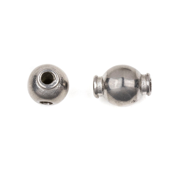 Natural Stainless Steel 8mm Smooth Guru Bead with Extending Side Holes - ZN-61747, 10 per bag