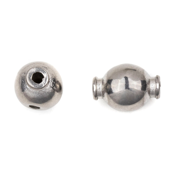 Natural Stainless Steel 10mm Smooth Guru Bead with Extending Side Holes - ZN-61747, 1 per bag