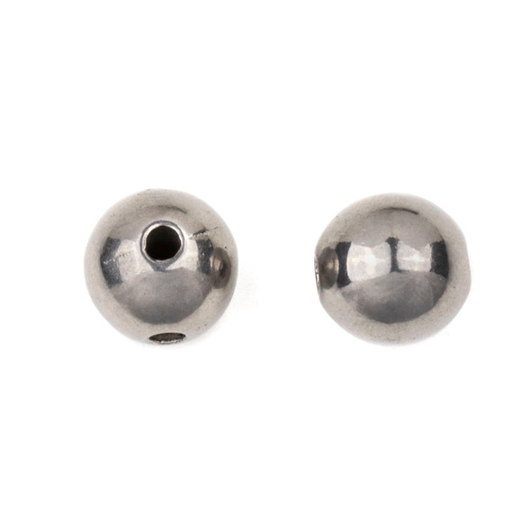 Natural Stainless Steel 10mm Smooth Guru Bead - ZN-47872, 10 per bag