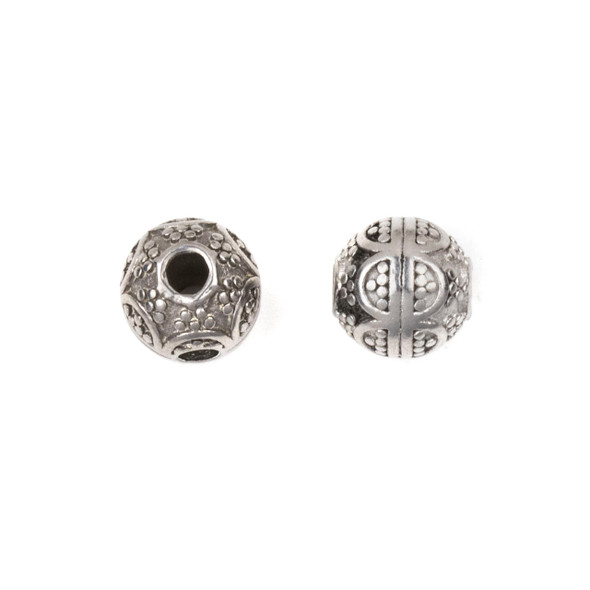 Natural Stainless Steel 8mm Guru Bead with Arches - ZN-65949, 1 per bag