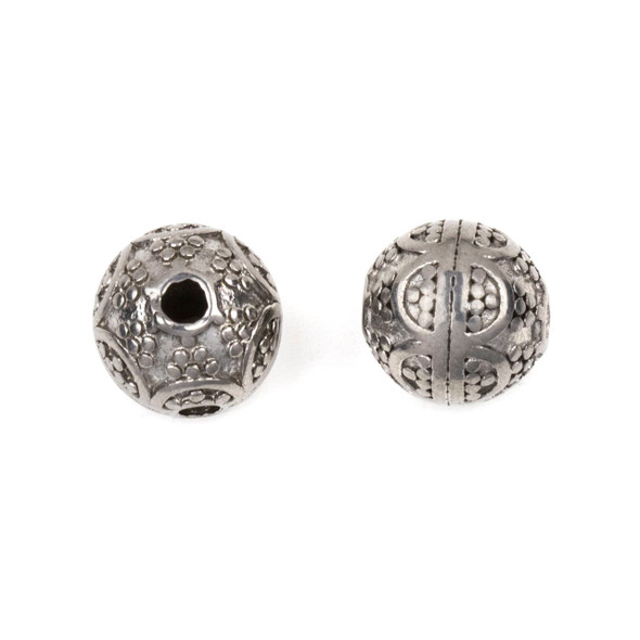 Natural Stainless Steel 10mm Guru Bead with Arches - ZN-65949, 1 per bag