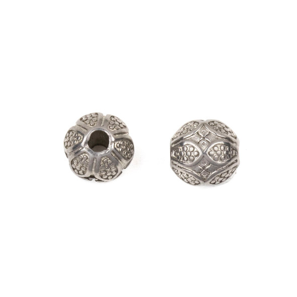 Natural Stainless Steel 8mm Guru Bead with Dotted Petals - ZN-65965, 1 per bag