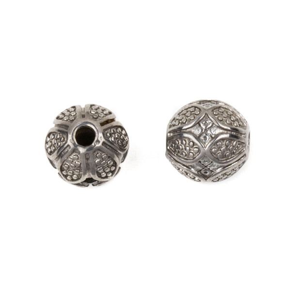 Natural Stainless Steel 10mm Guru Bead with Dotted Petals - ZN-65965, 1 per bag