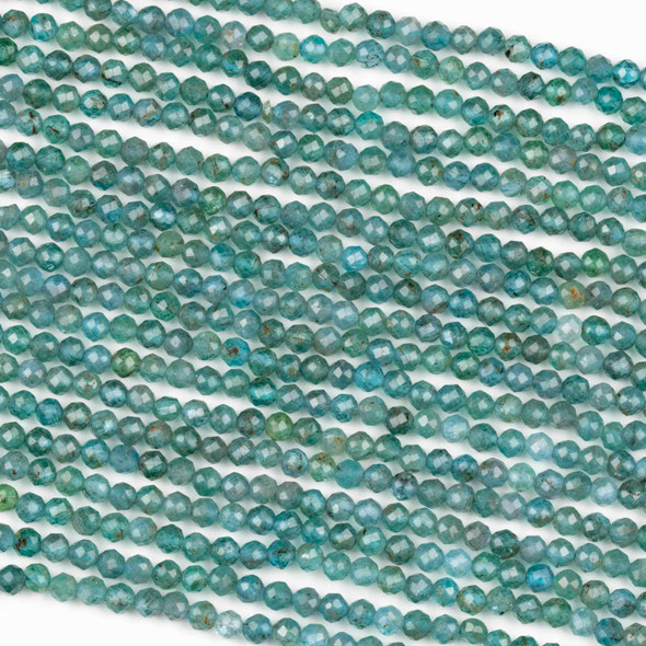 Blue Apatite 3mm Faceted Round Beads - 15 inch strand