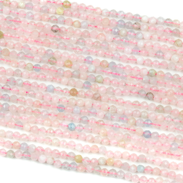 Morganite 3mm Faceted Round Beads - 15 inch strand