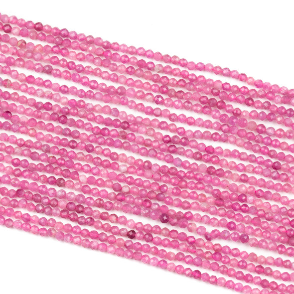 Pink Tourmaline 2mm Faceted Round Beads - 15 inch strand