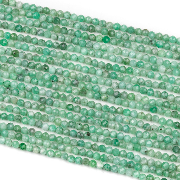 Emerald 3mm Faceted Round Beads - 15 inch strand