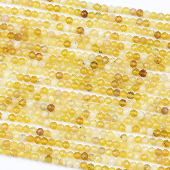 Yellow Opal 3.5mm Faceted Round Beads - 15 inch strand