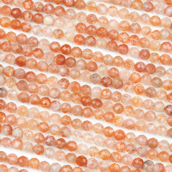Sunstone 5mm Faceted Round Beads - 15 inch strand