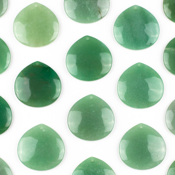 Green Aventurine 40mm Top Front to Back Drilled Almond Pendant with a Flat Back - 1 per bag