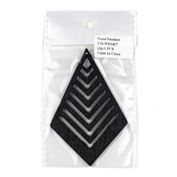 Aspen Wood Laser Cut 62x95mm Black Geometric Kite Chevron Pendant - 1 per bag