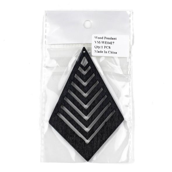 Aspen Wood Laser Cut 62x95mm Black Geometric Kite Chevron Pendant - 1 per bag