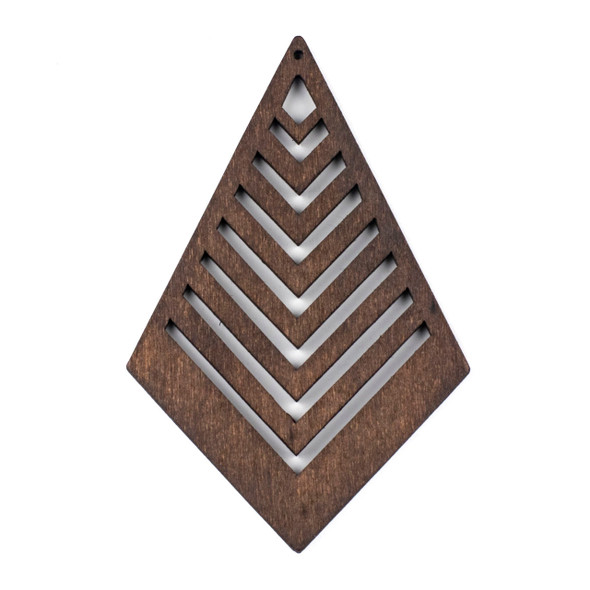Aspen Wood Laser Cut 62x95mm Dark Brown Geometric Kite Chevron Pendant - 1 per bag
