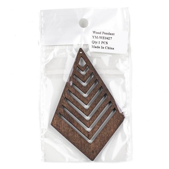 Aspen Wood Laser Cut 62x95mm Dark Brown Geometric Kite Chevron Pendant - 1 per bag