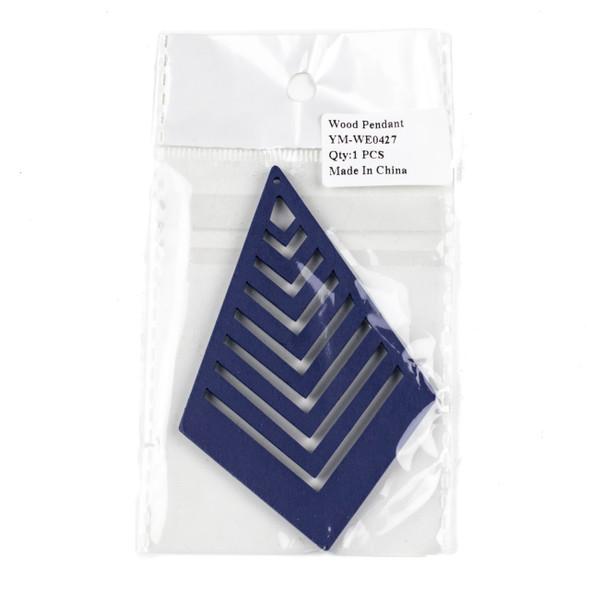 Aspen Wood Laser Cut 62x95mm Blue Geometric Kite Chevron Pendant - 1 per bag