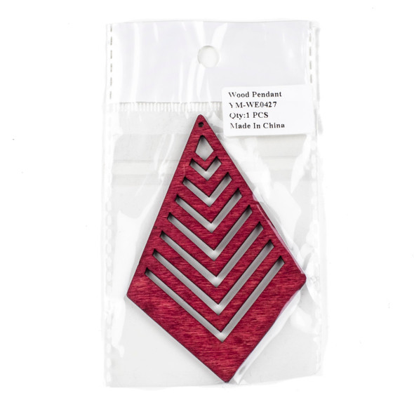Aspen Wood Laser Cut 62x95mm Red Geometric Kite Chevron Pendant - 1 per bag