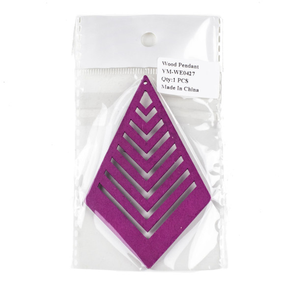 Aspen Wood Laser Cut 62x95mm Violet Purple Geometric Kite Chevron Pendant - 1 per bag