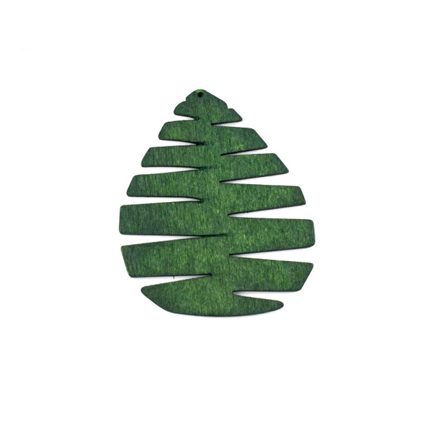 Aspen Wood Laser Cut 49x59mm Green Pine Cone/Tree Teardrop Pendant - 1 per bag