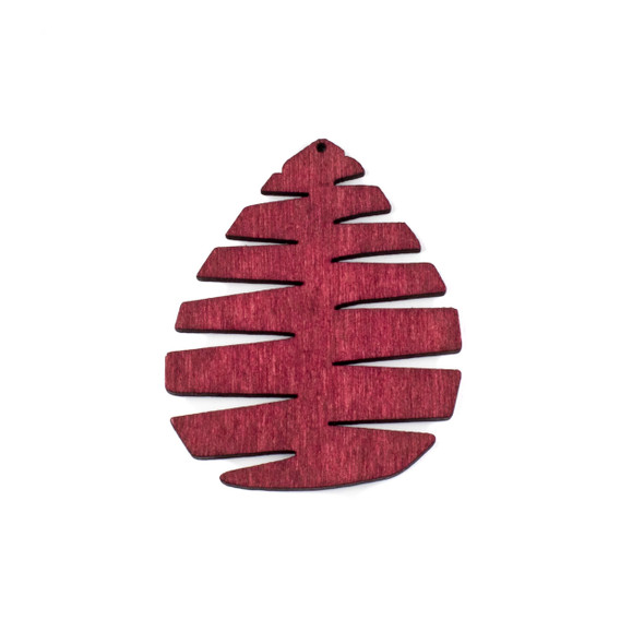 Aspen Wood Laser Cut 49x59mm Red Pine Cone/Tree Teardrop Pendant - 1 per bag