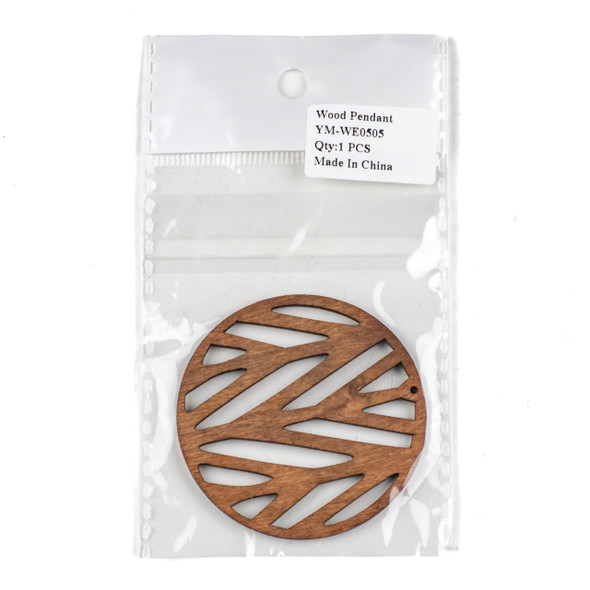 Aspen Wood Laser Cut 59mm Dark Brown Branch Coin Pendant - 1 per bag